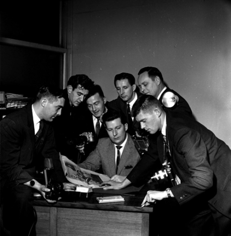 Ralph Bower, Vancouver Sun photographers (clockwise) Dan Scott, Ralph Bower, George Diack, Ray Allan, Dave Buchan, Ken Orr and Charlie Warner, 1960s.