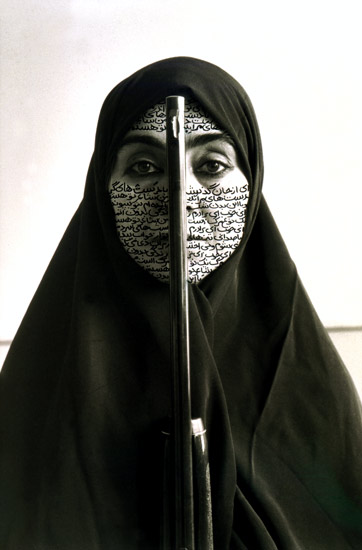 "Shirin Neshat, Rebellious Silence, 1994. B&W RC print & ink (photo taken by C. Preston); 11 x 14""/27.9 x 35.6 cm"