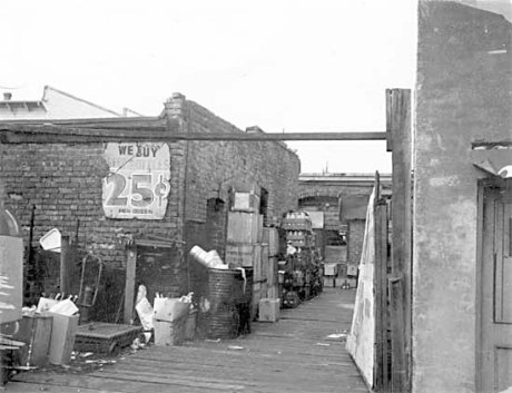 View from the back of 818-826 Main Street, c.1968, courtesy City of Vancouver Archives, CVA 203-15