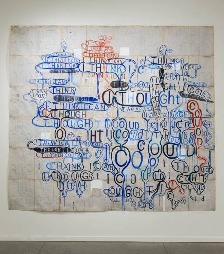 """Image: I Think I Can, Graham Gilmore, 1991, Acrylic and Ink on Ledger Paper 100 x 120"""""""